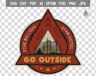 Outdoor Adventure Badge / Vintage Camp Logo Patch