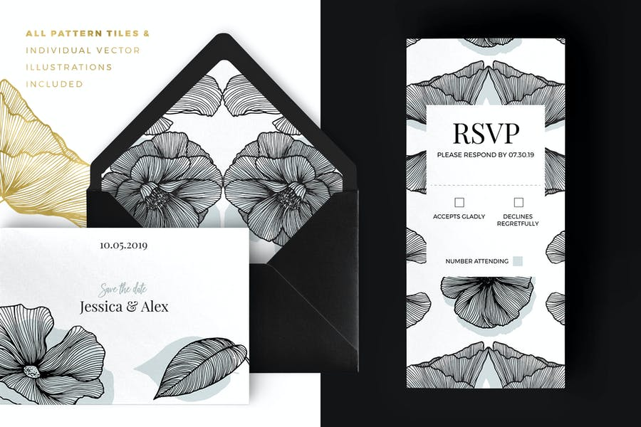 Lineart Floral Patterns & Elements - product preview 3