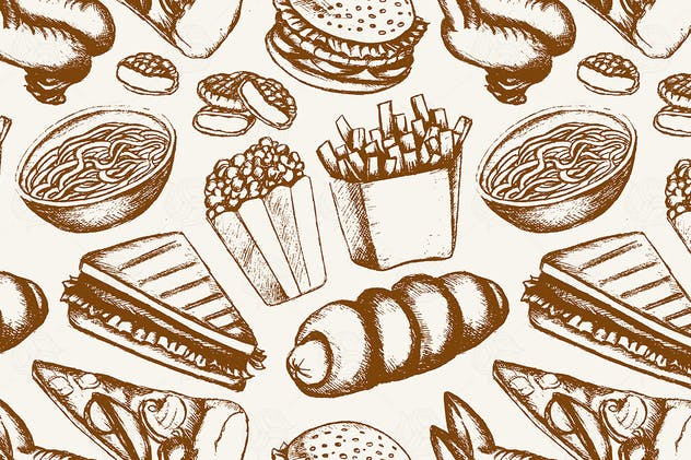 Fast food - one color hand drawn seamless pattern - product preview 1