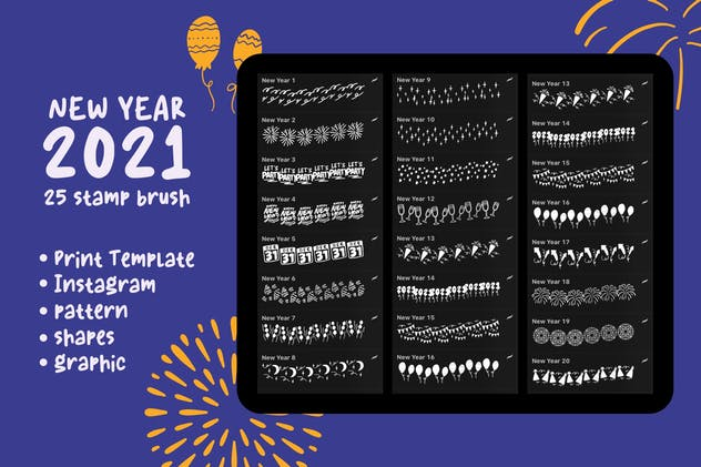 New Year 2021 - Procreate Stamp Brush - product preview 5