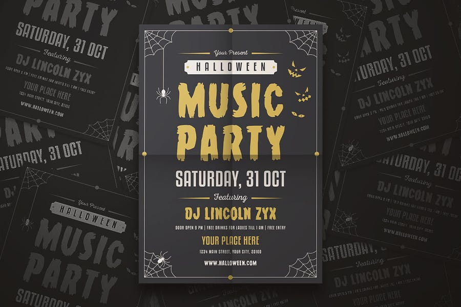 Halloween Music Party Flyer - product preview 2