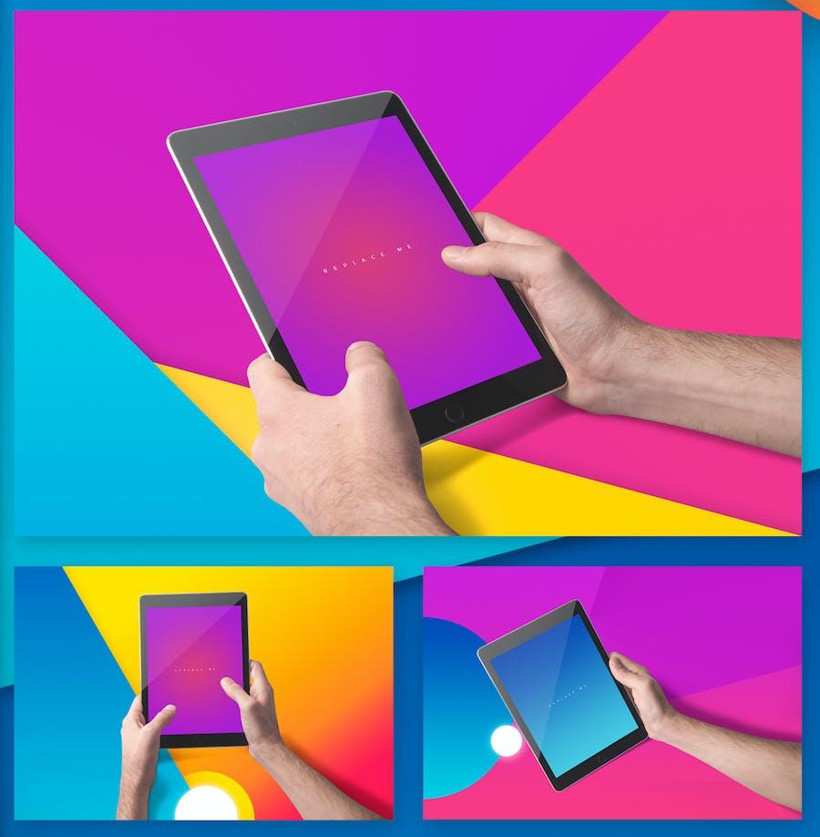 Preview image 9 for iPad Tablet UI Приложение Мокапы с яркими Фоны