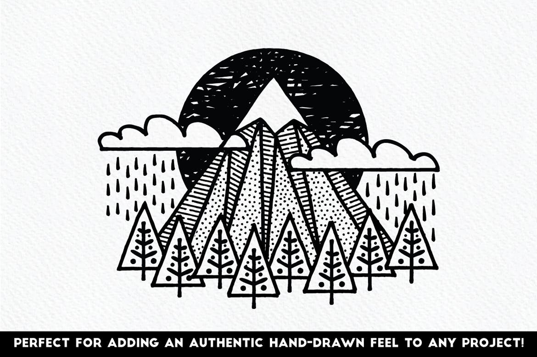 Illustrator细眼线笔刷和图案Fine Liner Brushes & Patterns插图3