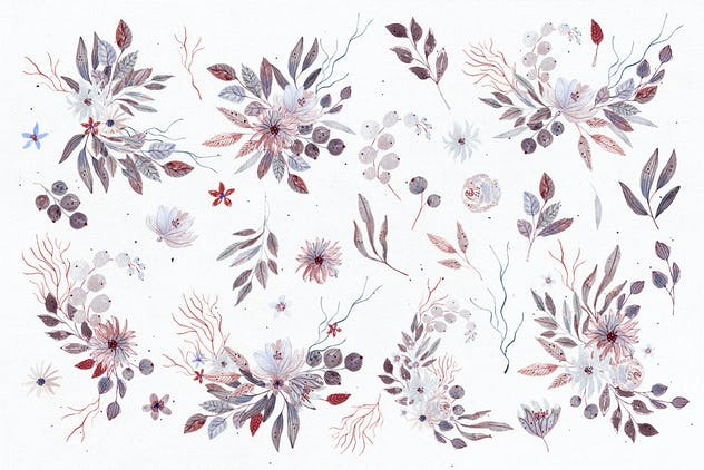 Watercolor floral set - Frozen Flowers