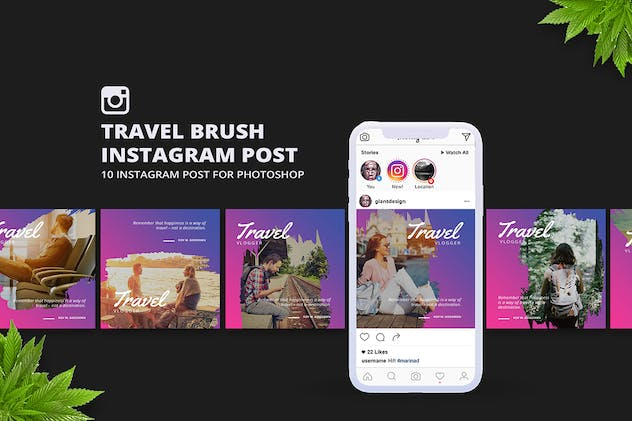 Travel Brush Instagram Post - product preview 4