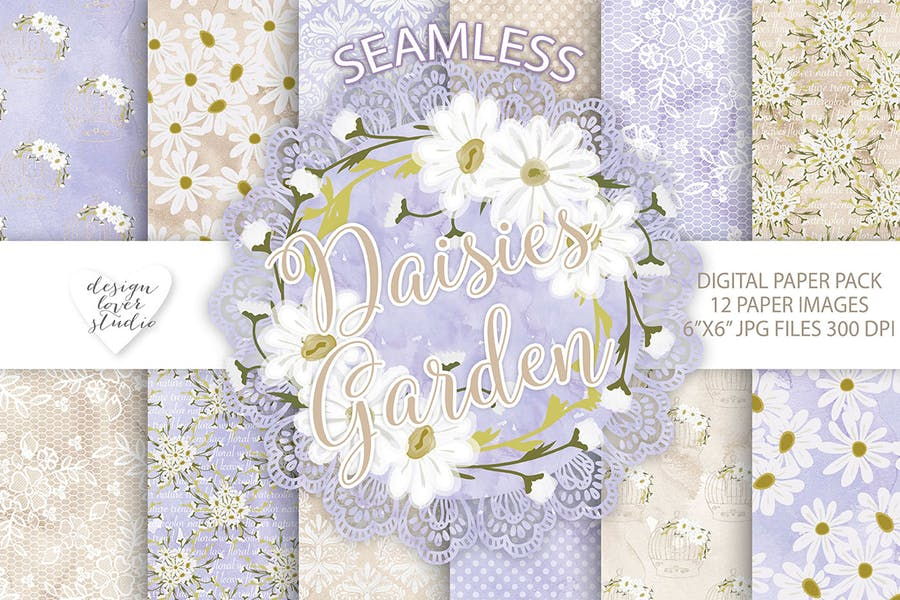 Watercolor Daisies flowers digital paper pack - product preview 1