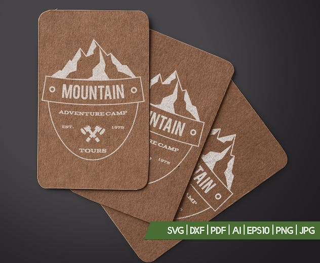 Retro Camping Insignia, Mountain Vector Logo Label - product preview 3