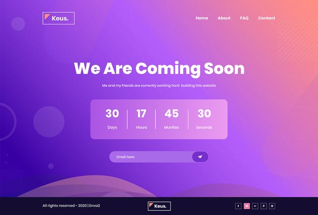 Keus - Creative Coming Soon HTML5 Template - product preview 4