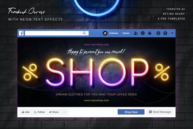 Neon Facebook Covers - 4 PSD - product preview 2
