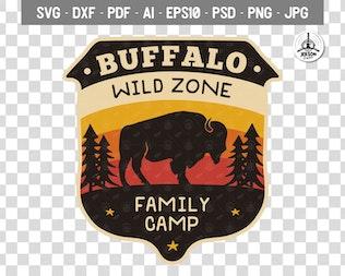 Wild Animals Badge / Vintage Camp Logo Patch SVG