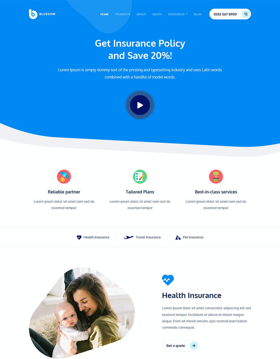 Blussom Insurance Service Landing Page Template  - product preview 2