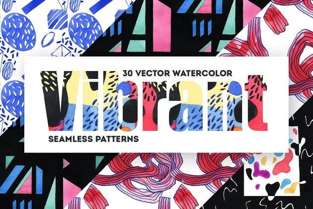 Vibrant Watercolor Patterns - product preview 7