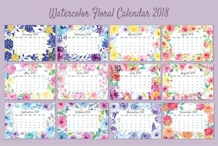 Thumbnail for Watercolor Floral Calendar 2018