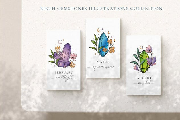 Hand Painted Birthstones Gems Illustrations. - product preview 2