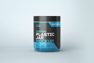 Food Supplement Plastic Jar Mockup