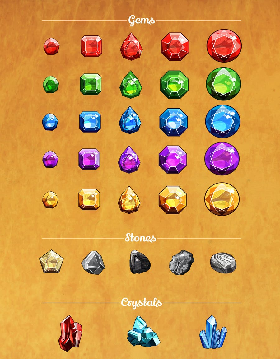 Gems And Diamonds Icons Set - product preview 1