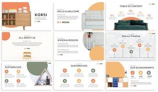 Корси - Мебель Google Слайды Шаблон