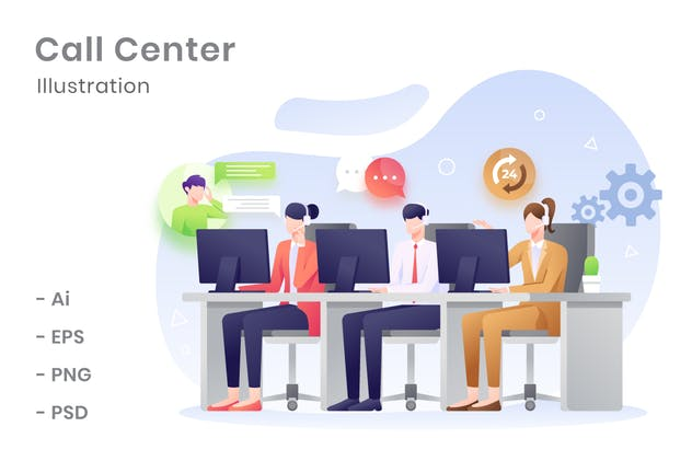 Call Center Illustration - product preview 1