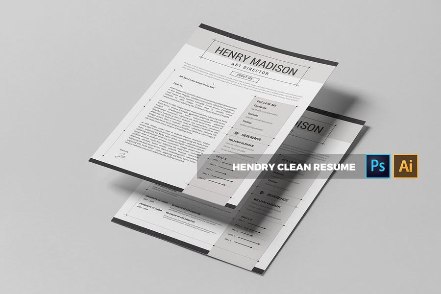 Henri Clean  | CV & Resume - product preview 2