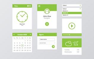 Thumbnail for Green & White Flat Mobile Web UI Kit