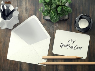 Thumbnail for 7x5 Rounded Corners Greeting Card Mockup Set 1