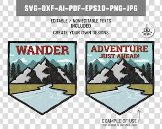 Thumbnail for Wanderlust Badge / Vintage Travel Logo Patch SVG