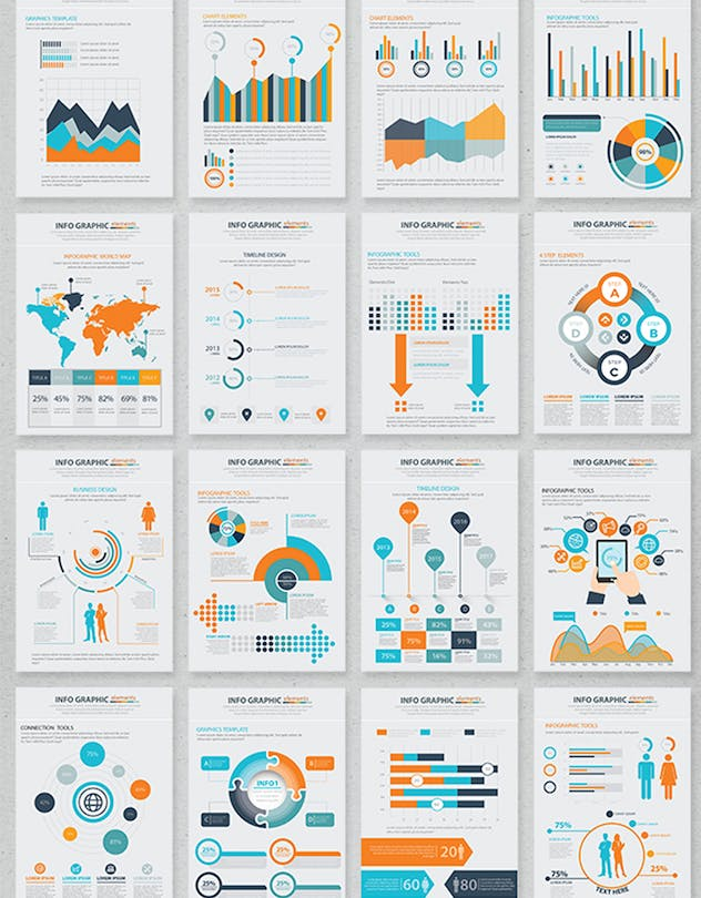 20 Pages Info Graphic Elements Design