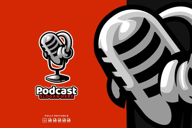 Podcast  Broadcast Mic Logo - product preview 1