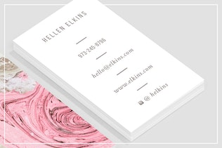 Thumbnail for Nude + Pink Marble Business Card