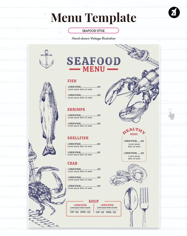 Seafood style menu template - product preview 2
