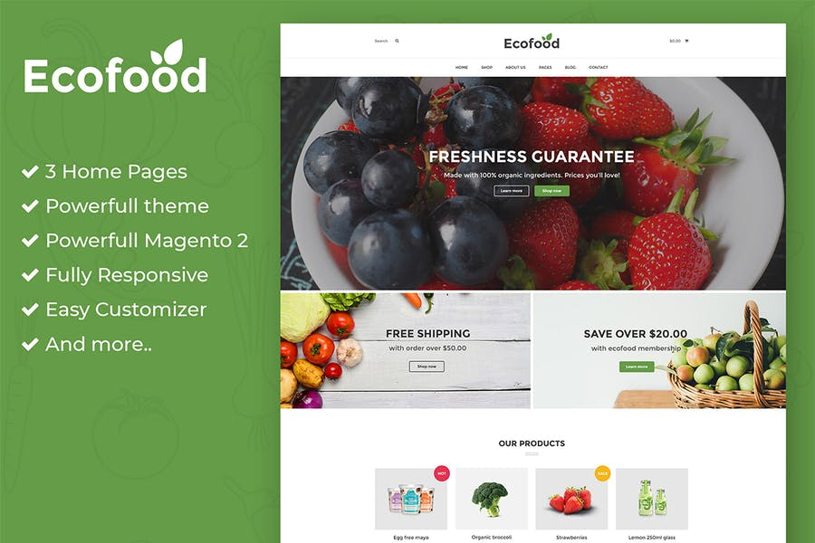Ecofood - Responsive Organic Store Magento 2 Theme - product preview 1