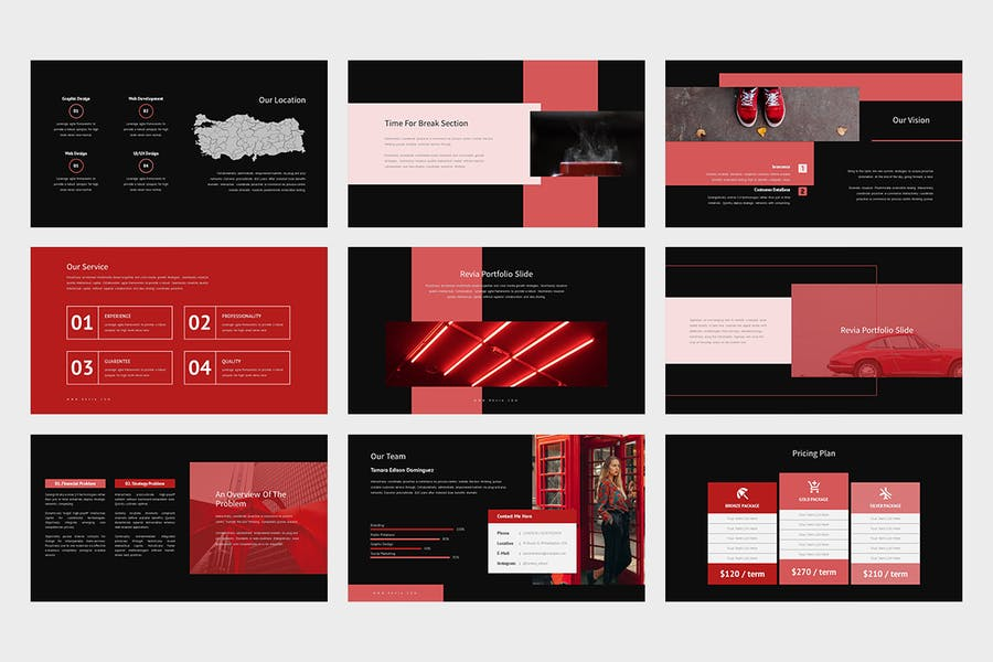 Revia : Red Gradient Color Tone Keynote - product preview 11