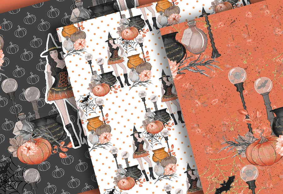 Halloween Girl digital paper pack - product preview 2