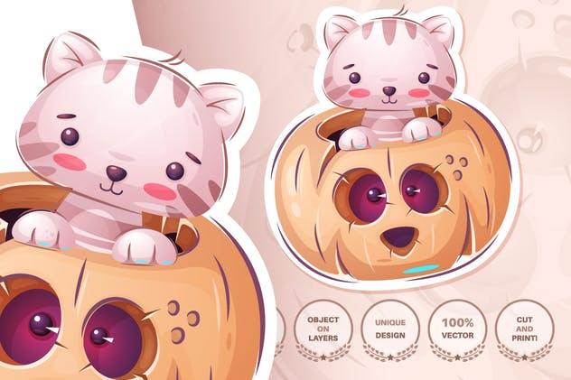 Set cute sticker - seamless pattern - product preview 11