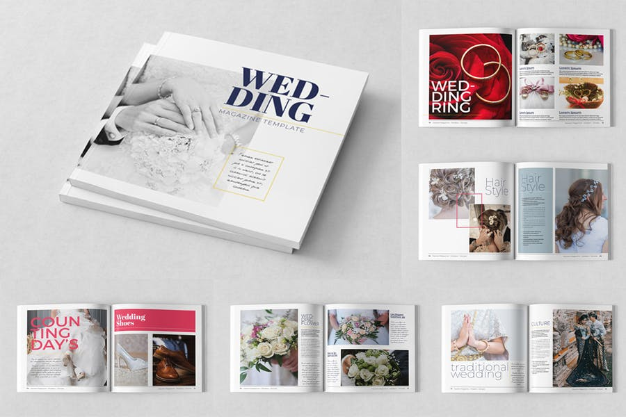 Square Wedding Magazine Template - product preview 2