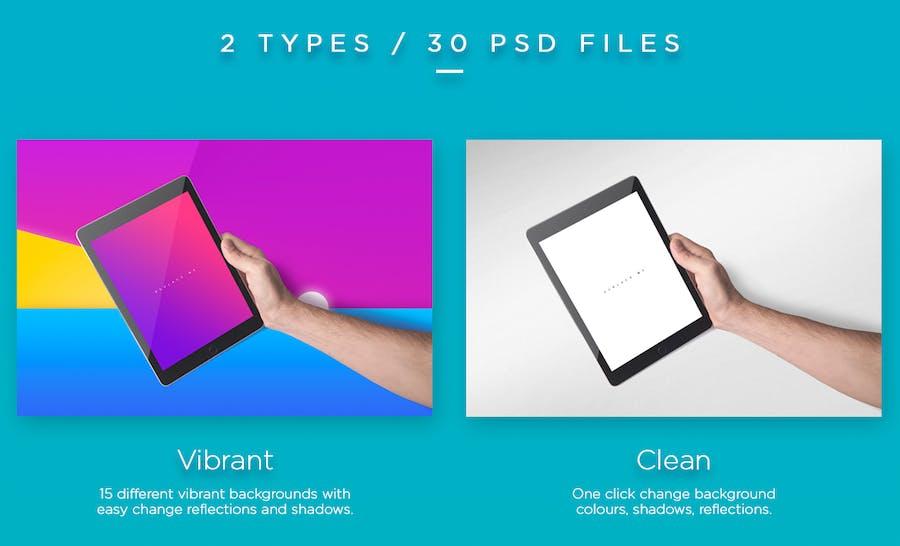 Preview image 2 for iPad Tablet UI Приложение Мокапы с яркими Фоны