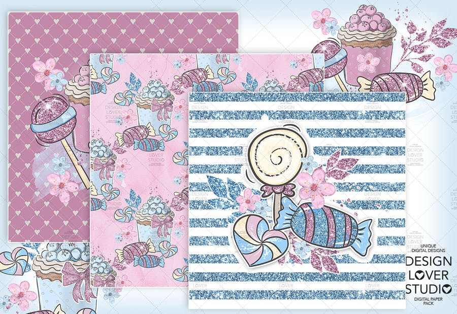 Candy Girl digital paper pack - product preview 1