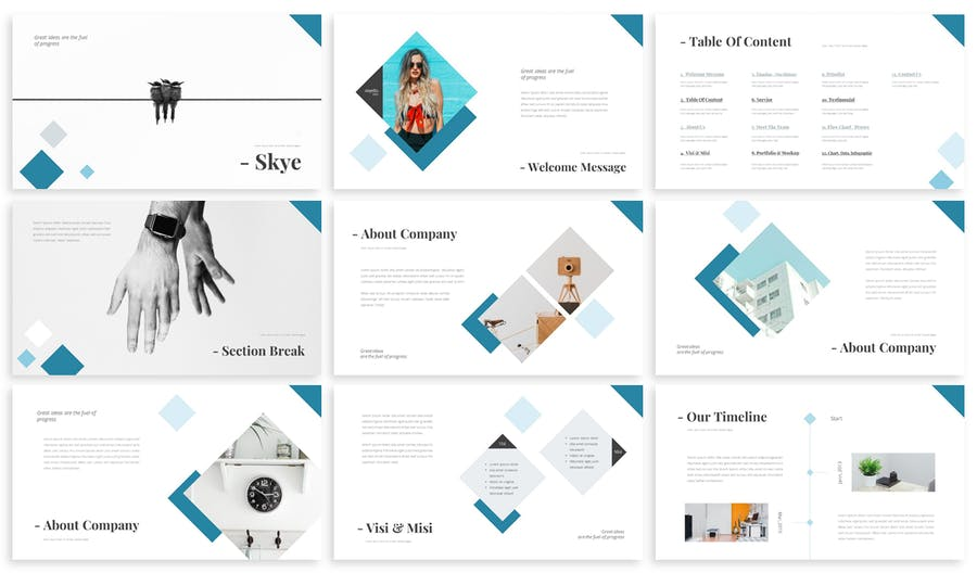 Skye Business Powerpoint Template Design Template Place