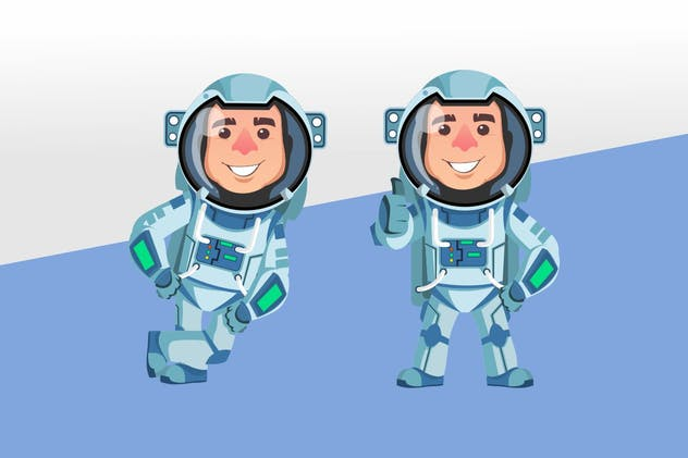 Astronaut Mascot Character Set