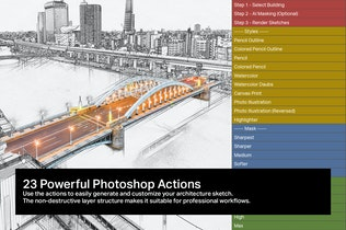 Vista en miniatura para 10 Acciones de Sketch de Arquitectura AI en Photoshop
