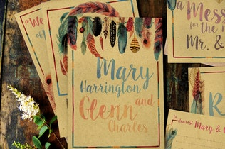 Thumbnail for Feather Watercolor Wedding Invitation