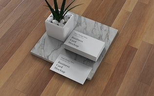 Thumbnail for Business Card Mockup Right Angle View
