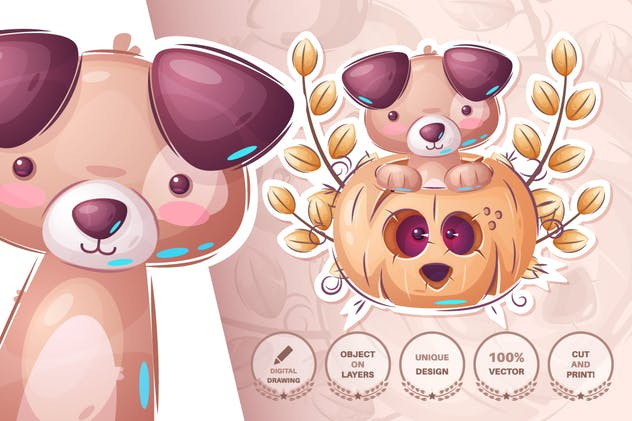 Set cute sticker - seamless pattern - product preview 4