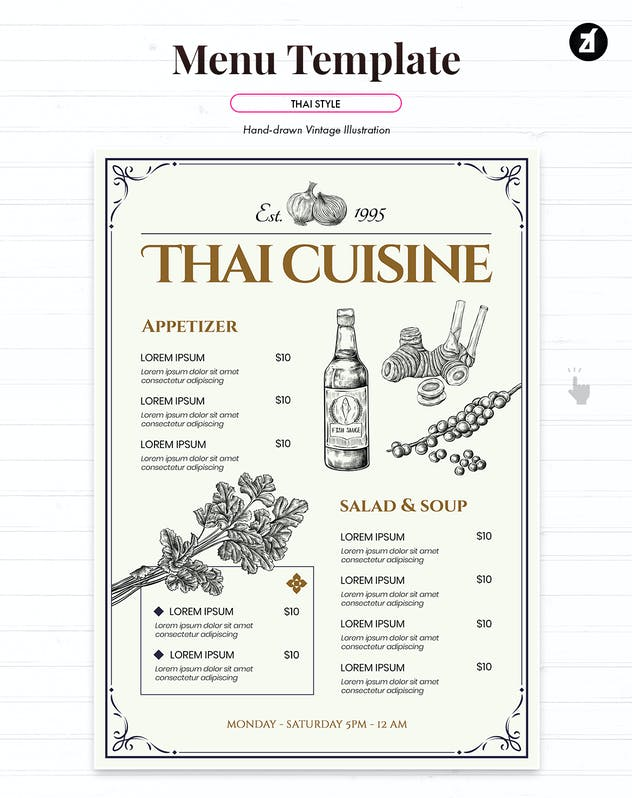 Thai style vintage menu template - product preview 1