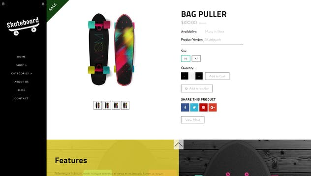 Skate board - Fullscreen Sports Shopify Theme - product preview 3