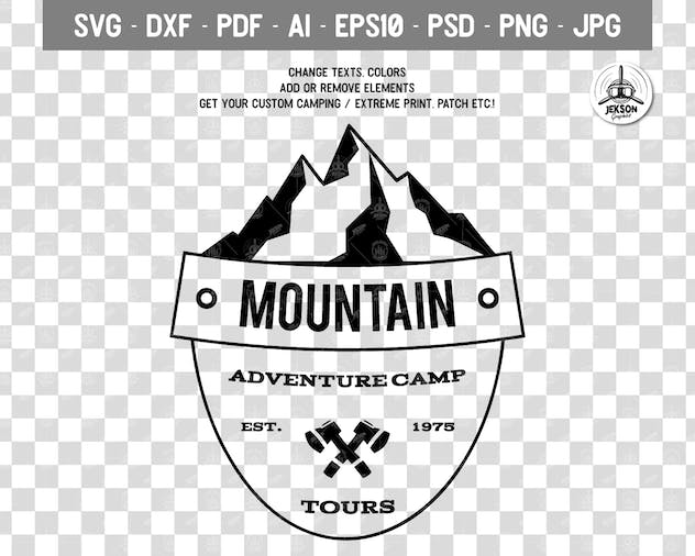 Retro Camping Insignia, Mountain Vector Logo Label - product preview 1