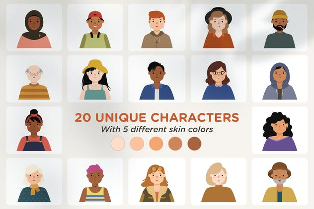 Diversity 100 Vector Avatar Pack v.02 - product preview 1