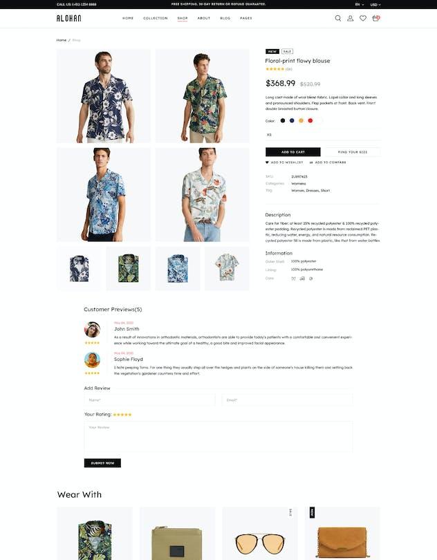 Alohan | Minimalist Fashion PSD Template - product preview 6