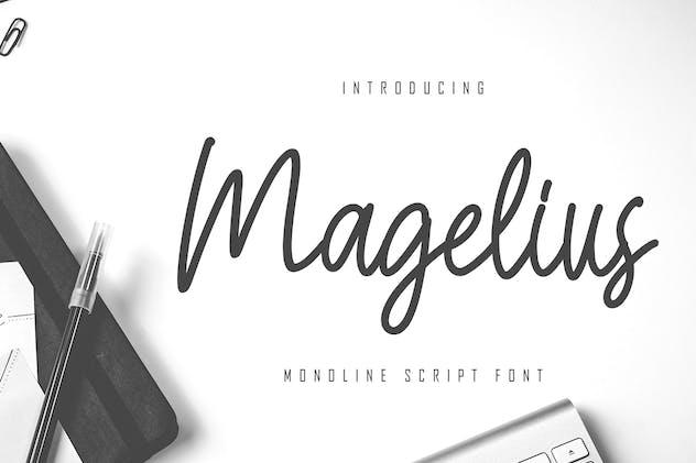 Magelius - Monoline Script Font - product preview 1