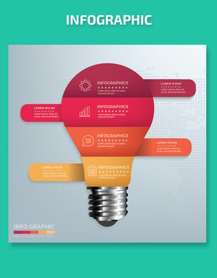 Thumbnail for Minimal Light bulb Infographics Design